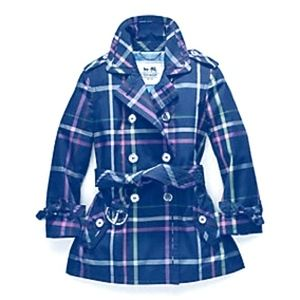 Coach Navy Tattersall short trench jacket